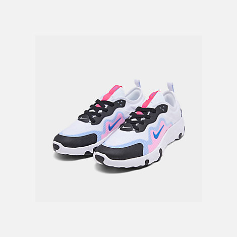 Three Quarter view of Girls' Big Kids' Nike Renew Lucent Running Shoes in White/Photo Blue/Hyper Pink/Black