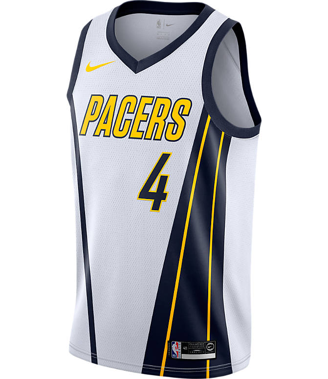 Back view of Men's Nike Indiana Pacers NBA Victor Oladipo Earned Edition Swingman Jersey in White