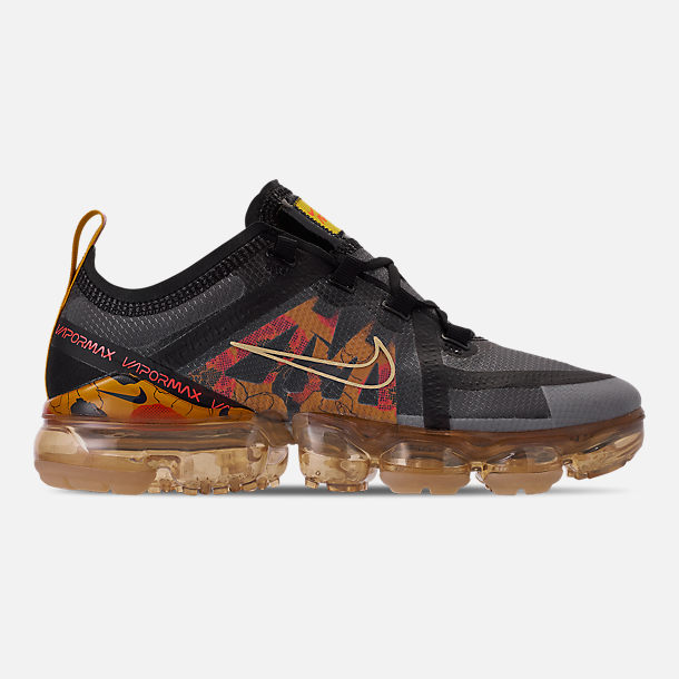 Right view of Women's Nike Air VaporMax 2019 SE Running Shoes in Black/Bright Crimson/University Gold