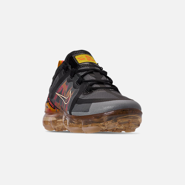 Three Quarter view of Women's Nike Air VaporMax 2019 SE Running Shoes in Black/Bright Crimson/University Gold