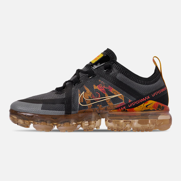 Left view of Women's Nike Air VaporMax 2019 SE Running Shoes in Black/Bright Crimson/University Gold