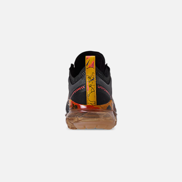 Back view of Women's Nike Air VaporMax 2019 SE Running Shoes in Black/Bright Crimson/University Gold