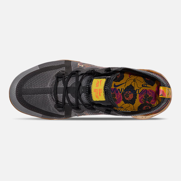 Top view of Women's Nike Air VaporMax 2019 SE Running Shoes in Black/Bright Crimson/University Gold