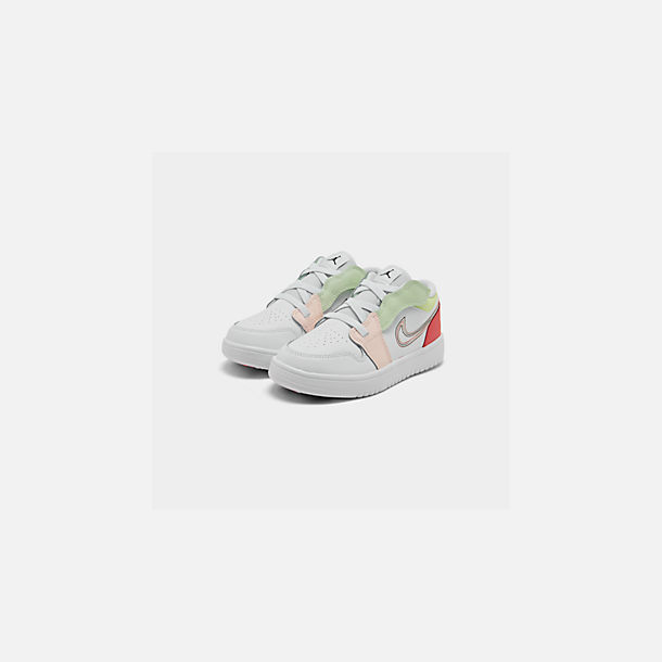 Three Quarter view of Girls' Little Kids' Air Jordan Retro 1 Low Alt Casual Shoes in White/Black/Ember Glow/Volt