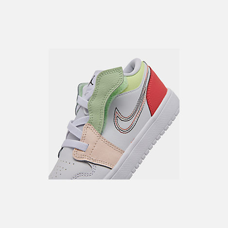 Front view of Girls' Little Kids' Air Jordan Retro 1 Low Alt Casual Shoes in White/Black/Ember Glow/Volt