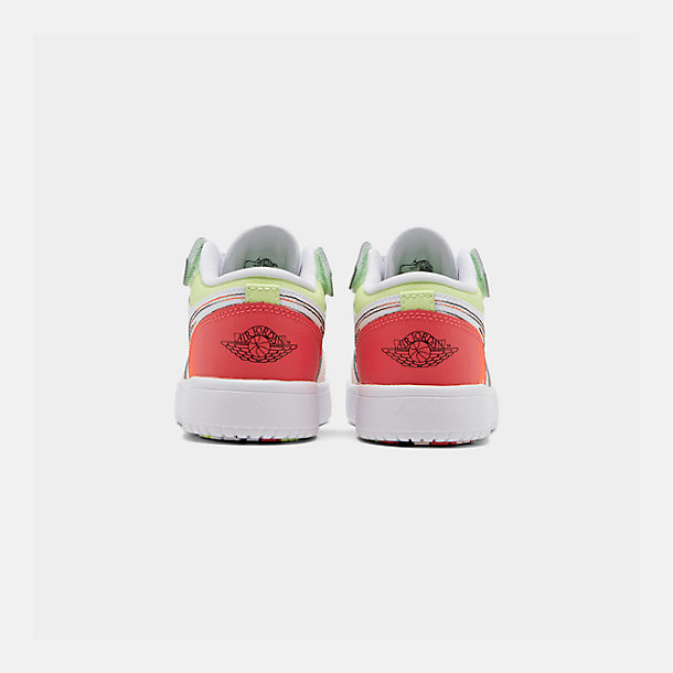 Left view of Girls' Little Kids' Air Jordan Retro 1 Low Alt Casual Shoes in White/Black/Ember Glow/Volt