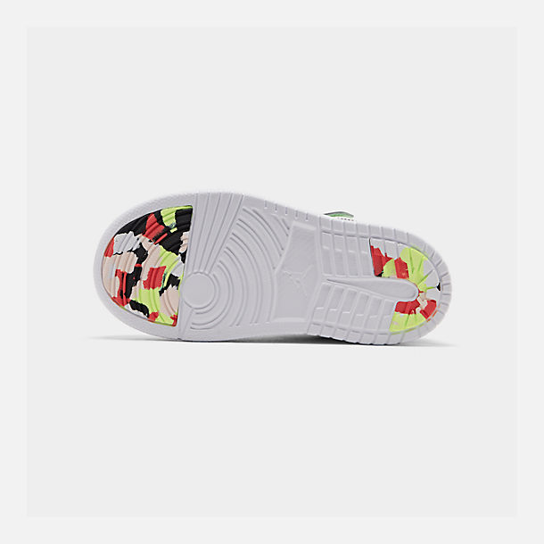 Bottom view of Girls' Little Kids' Air Jordan Retro 1 Low Alt Casual Shoes in White/Black/Ember Glow/Volt