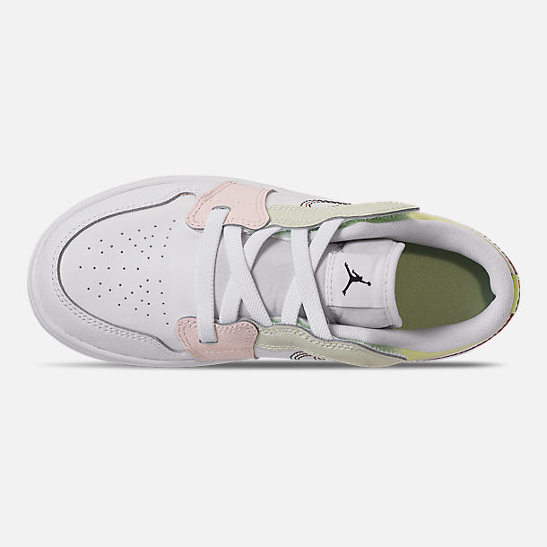 Top view of Girls' Little Kids' Air Jordan Retro 1 Low Alt Casual Shoes in White/Black/Ember Glow/Volt