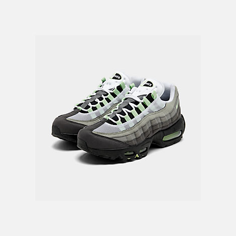 Three Quarter view of Men's Nike Air Max 95 OG Casual Shoes in White/Mint/Granite/Medium Ash