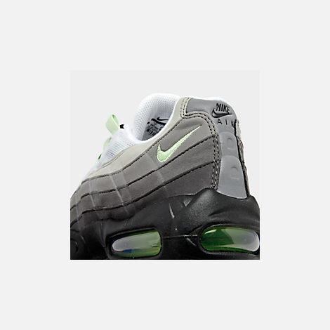Front view of Men's Nike Air Max 95 OG Casual Shoes in White/Mint/Granite/Medium Ash