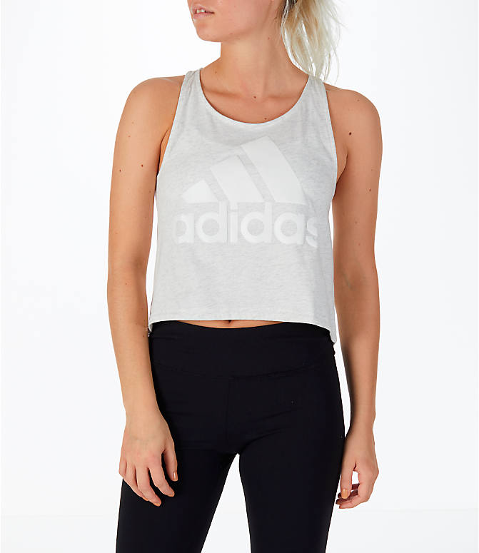 Front view of Women's adidas Athletics Sport ID Crop Tank Top in Grey/White