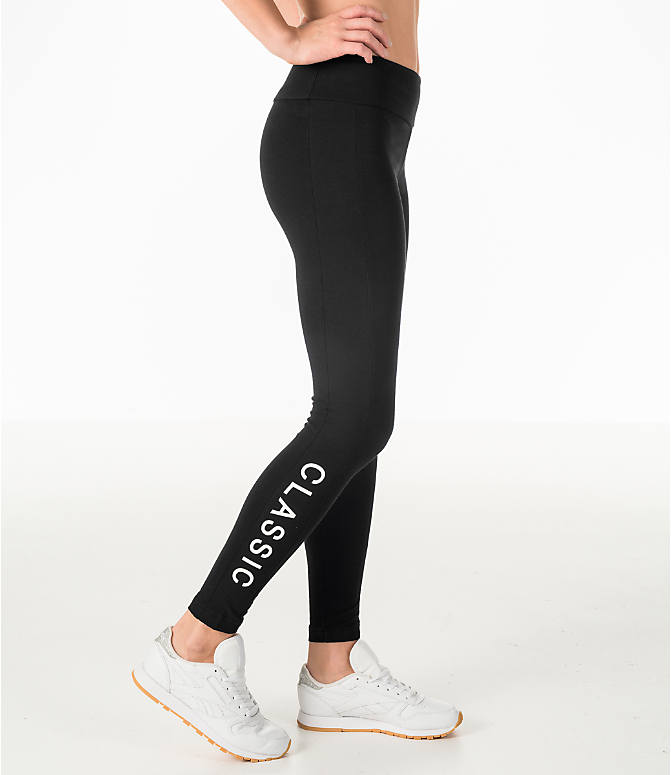 Front Three Quarter view of Women's Reebok Leggings in Black