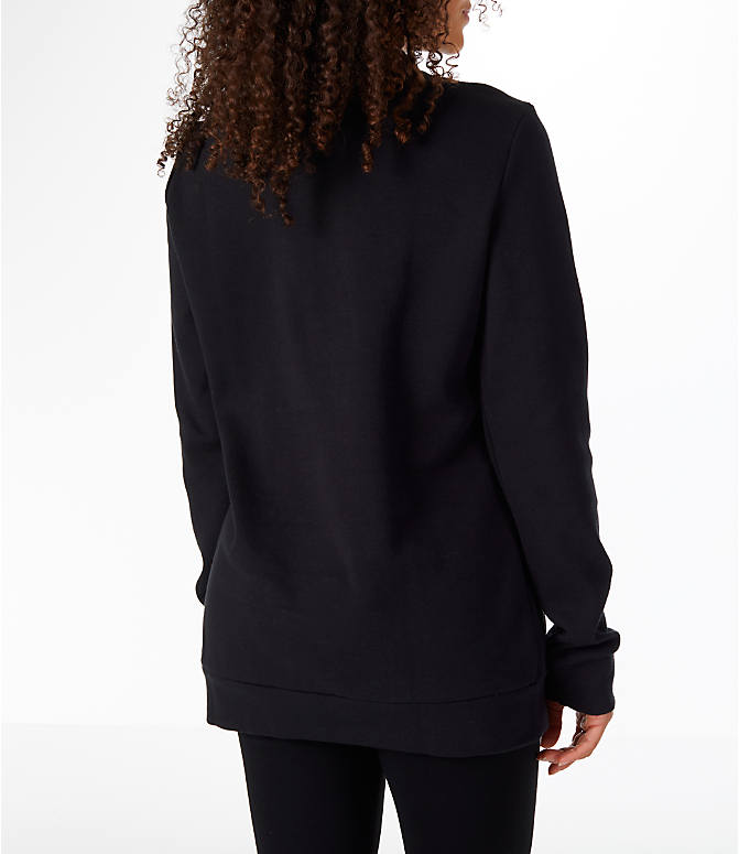 Back Right view of Women's Reebok Classics Iconic Crewneck Sweatshirt in Black/White