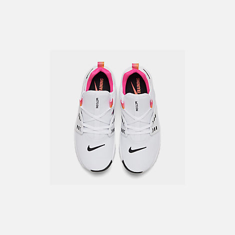 Back view of Women's Nike Free Metcon 2 Training Shoes in White/Black/Laser Fuchsia