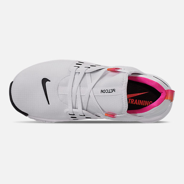 Top view of Women's Nike Free Metcon 2 Training Shoes in White/Black/Laser Fuchsia