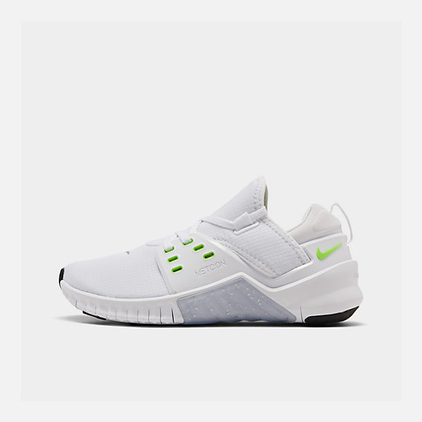 Right view of Women's Nike Free Metcon 2 Training Shoes in White/Electric Green/Black