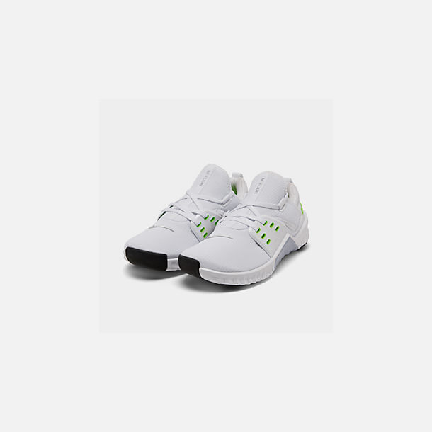 Three Quarter view of Women's Nike Free Metcon 2 Training Shoes in White/Electric Green/Black