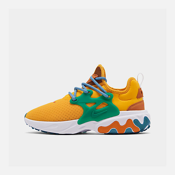 Right view of Women's Nike React Presto Running Shoes in University Gold/Habanero/Mystic Green