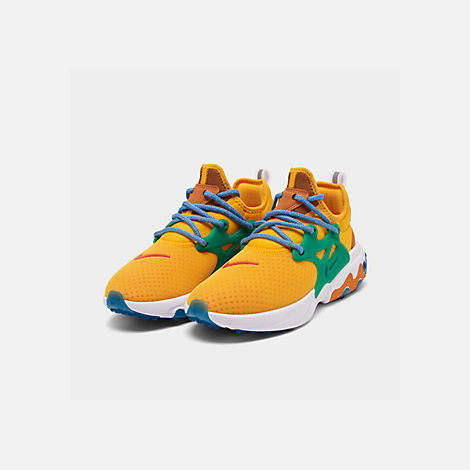 Three Quarter view of Women's Nike React Presto Running Shoes in University Gold/Habanero/Mystic Green