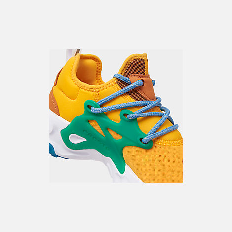 Front view of Women's Nike React Presto Running Shoes in University Gold/Habanero/Mystic Green