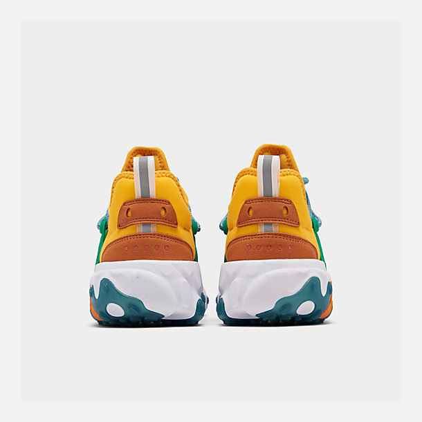 Left view of Women's Nike React Presto Running Shoes in University Gold/Habanero/Mystic Green