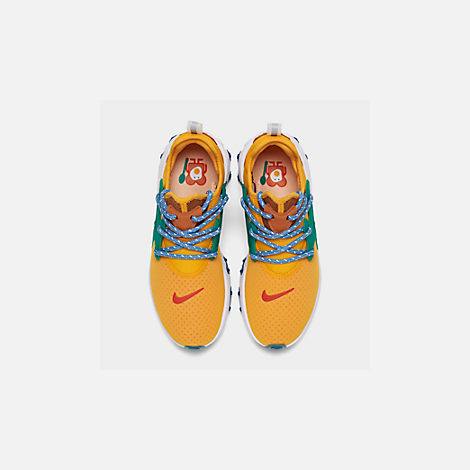 Back view of Women's Nike React Presto Running Shoes in University Gold/Habanero/Mystic Green