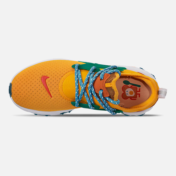 Top view of Women's Nike React Presto Running Shoes in University Gold/Habanero/Mystic Green
