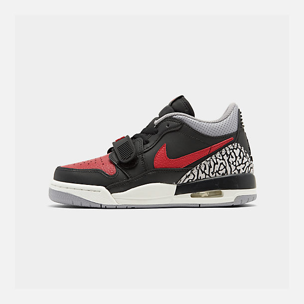 Right view of Boys' Big Kids' Jordan Legacy 312 Low Off-Court Shoes in Black/Varsity Red/Black/Cement Grey