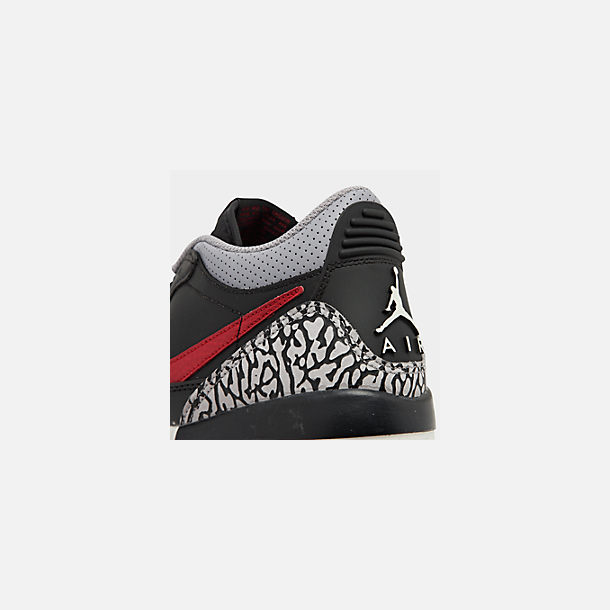 Front view of Boys' Big Kids' Jordan Legacy 312 Low Off-Court Shoes in Black/Varsity Red/Black/Cement Grey