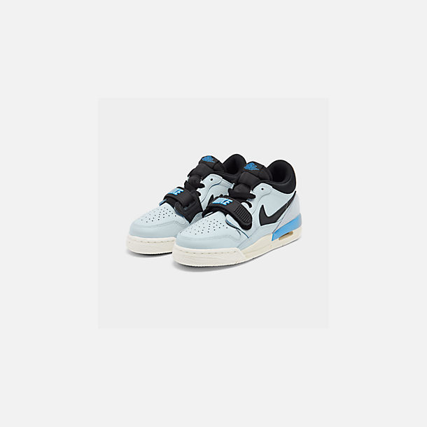 Three Quarter view of Boys' Big Kids' Jordan Legacy 312 Low Off-Court Shoes in Pale Blue/University Blue/Black/Sail
