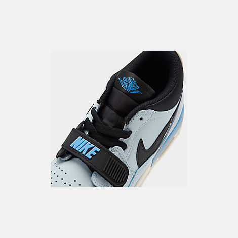 Front view of Boys' Big Kids' Jordan Legacy 312 Low Off-Court Shoes in Pale Blue/University Blue/Black/Sail