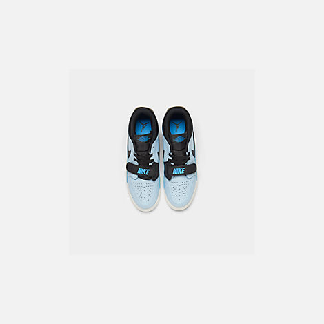 Back view of Boys' Big Kids' Jordan Legacy 312 Low Off-Court Shoes in Pale Blue/University Blue/Black/Sail
