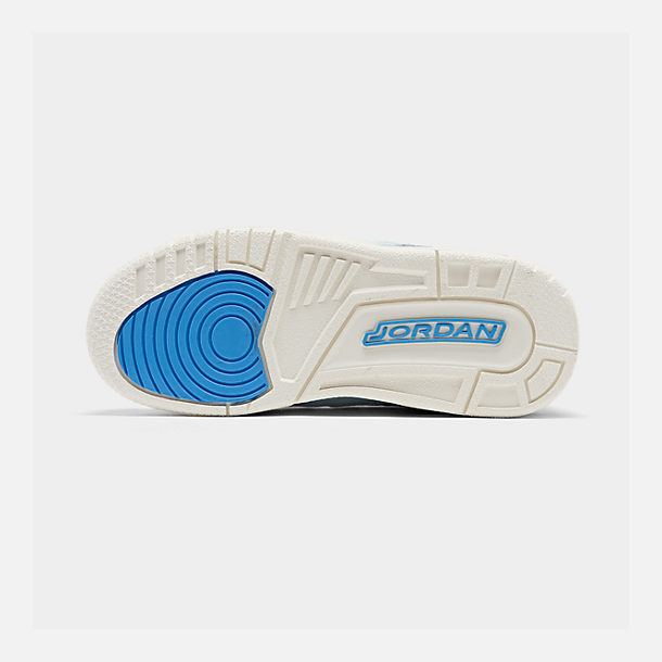 Bottom view of Boys' Big Kids' Jordan Legacy 312 Low Off-Court Shoes in Pale Blue/University Blue/Black/Sail