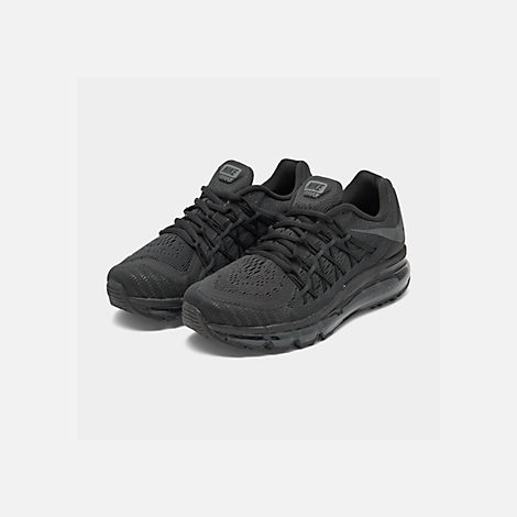 Three Quarter view of Boys' Big Kids' Nike Air Max 2015 Casual Shoes in Black/Anthracite