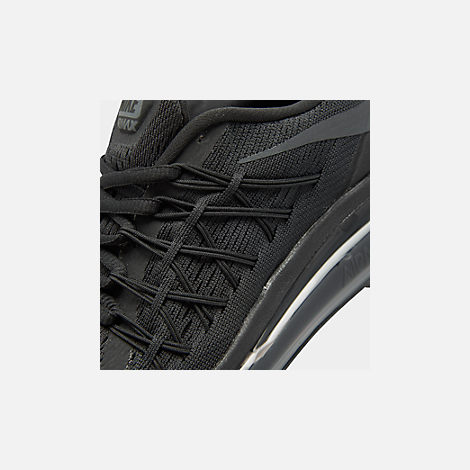 Front view of Boys' Big Kids' Nike Air Max 2015 Casual Shoes in Black/Anthracite