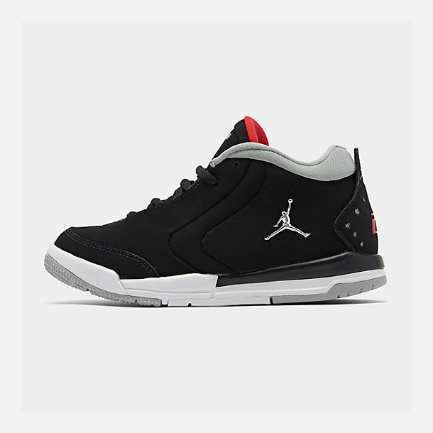 Right view of Boys' Little Kids' Air Jordan Big Fund Basketball Shoes in Black/Metallic Silver/White