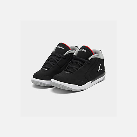 Three Quarter view of Boys' Little Kids' Air Jordan Big Fund Basketball Shoes in Black/Metallic Silver/White