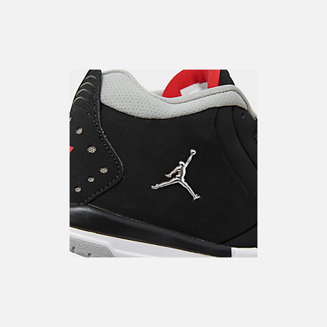 Front view of Boys' Little Kids' Air Jordan Big Fund Basketball Shoes in Black/Metallic Silver/White