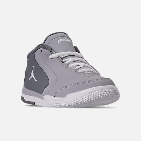 Three Quarter view of Boys' Little Kids' Air Jordan Big Fund Basketball Shoes in Cool Grey/White/Wolf Grey