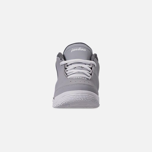 Front view of Boys' Little Kids' Air Jordan Big Fund Basketball Shoes in Cool Grey/White/Wolf Grey