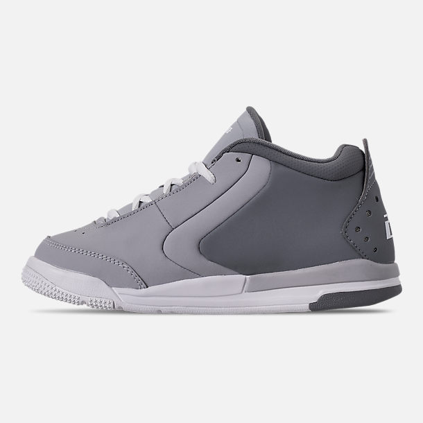 Left view of Boys' Little Kids' Air Jordan Big Fund Basketball Shoes in Cool Grey/White/Wolf Grey