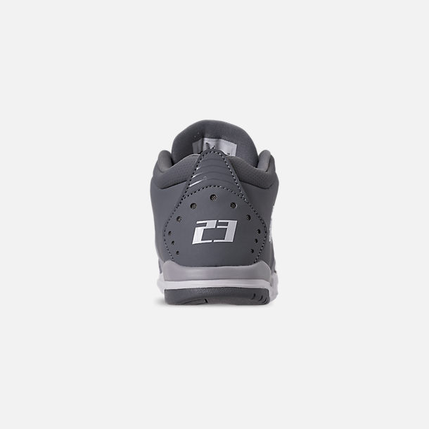 Back view of Boys' Little Kids' Air Jordan Big Fund Basketball Shoes in Cool Grey/White/Wolf Grey