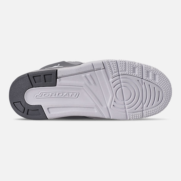 Bottom view of Boys' Little Kids' Air Jordan Big Fund Basketball Shoes in Cool Grey/White/Wolf Grey