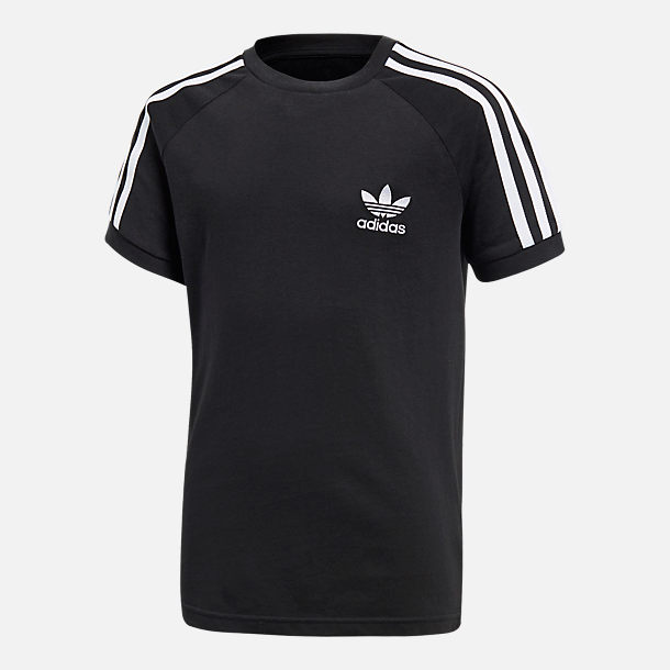 Front view of Kids' adidas Originals California T-Shirt in Black/White
