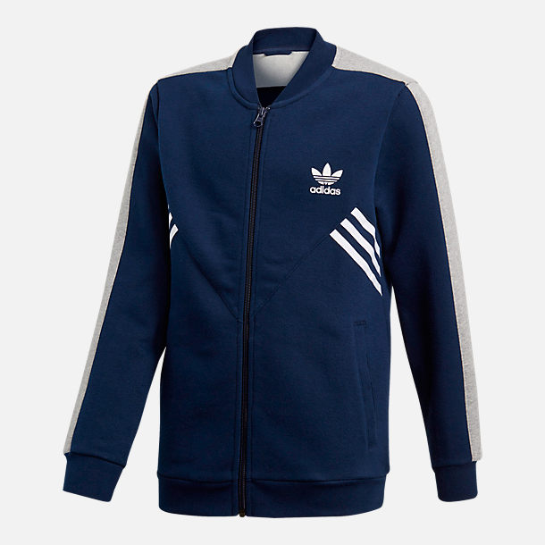 Front view of Boys' adidas Originals Trefoil Track Jacket in Navy/White