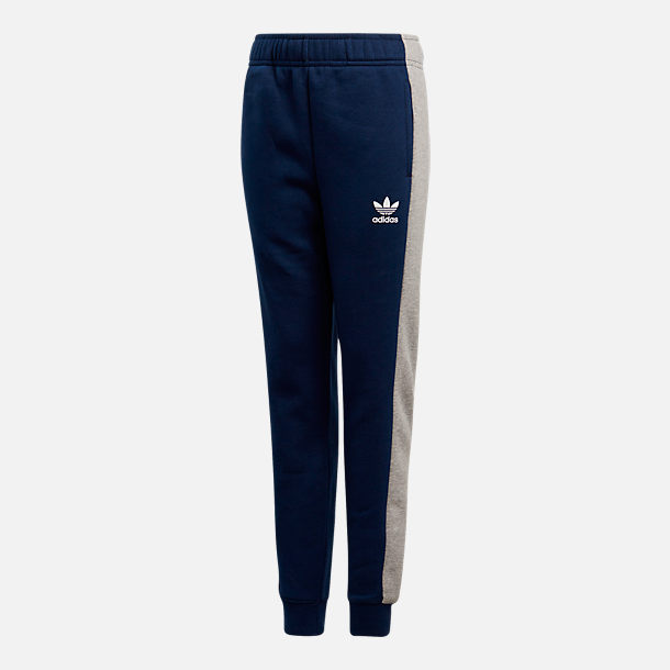 Front view of Kids' adidas Originals Fleece Jogger Pants in Navy/Heather Grey