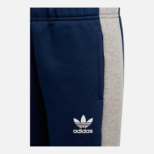 Back view of Kids' adidas Originals Fleece Jogger Pants in Navy/Heather Grey