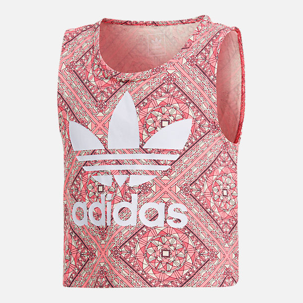Front view of Girls' adidas Originals Graphic Tank in Pink/Multi