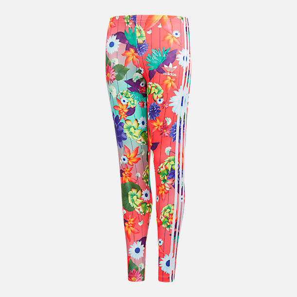 Front view of Girls' adidas Originals Allover Print Leggings in Multicolor /Floral