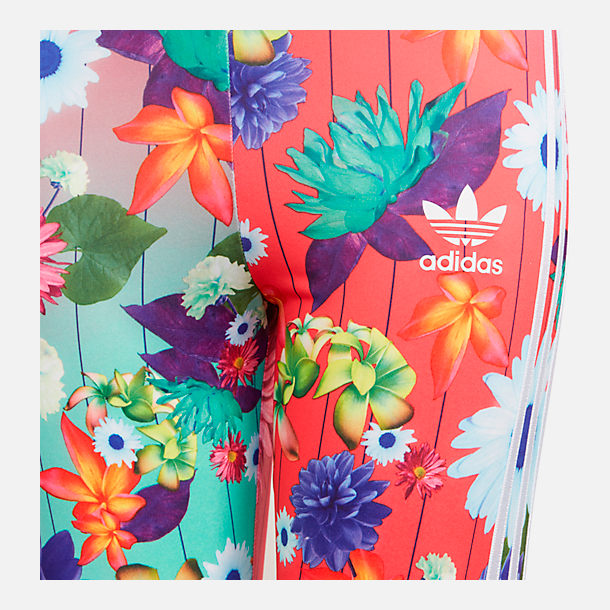 Back view of Girls' adidas Originals Allover Print Leggings in Multicolor/Floral